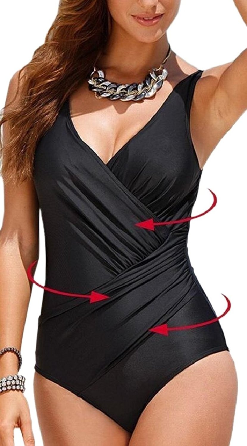 f4ab32091f89d Get Quotations · ONTBYB Womens Draped Swimsuits Backless Bathing Swimsuits