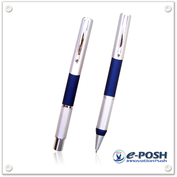 Metal diamond cut finish ball point pen