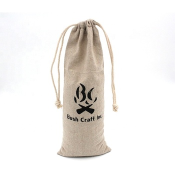Customize logo prnited long Linen Wine bottle Bag with Drawstring