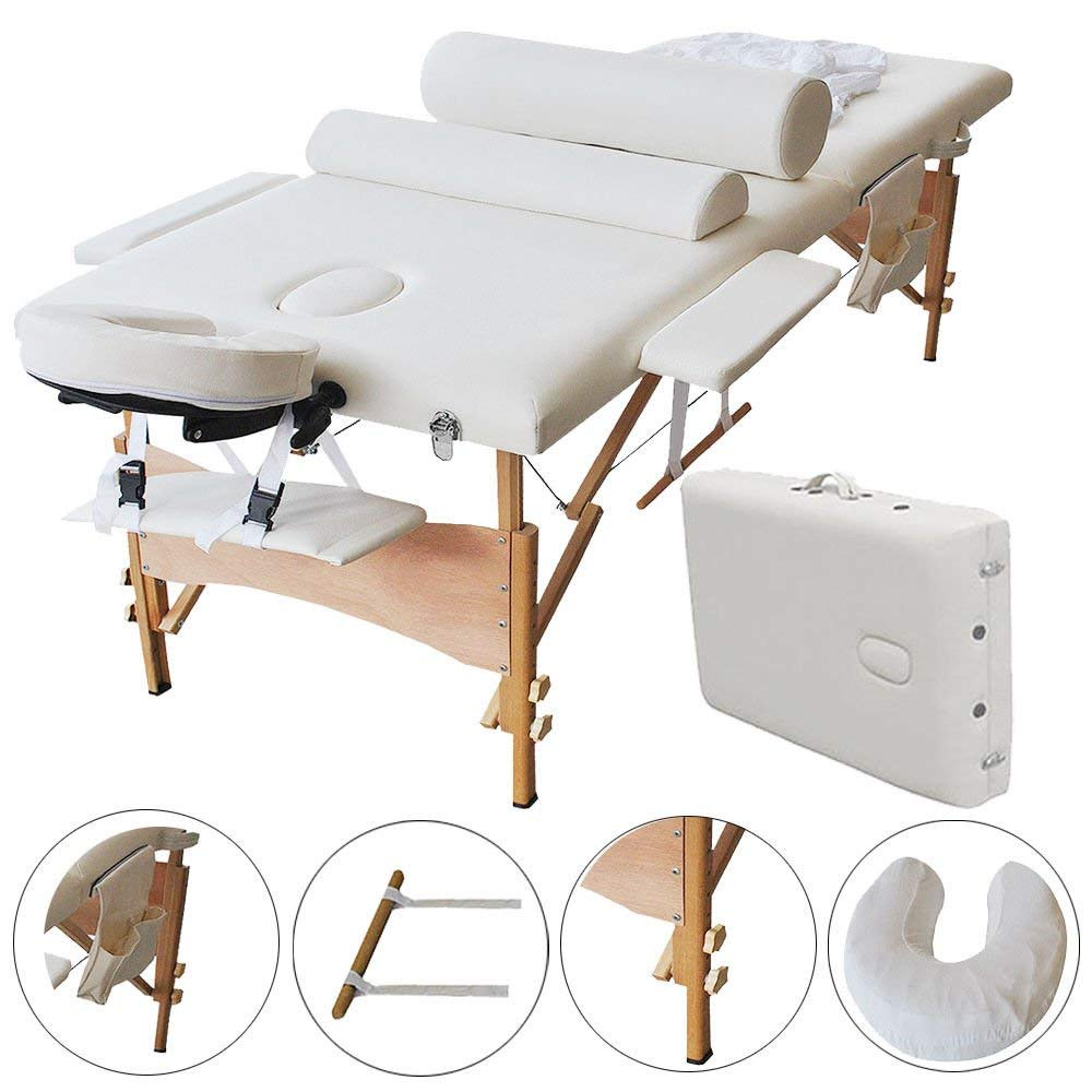 "2 Fold 84"" L Portable Massage Table Facial SPA Bed Tattoo Facial Bed White"