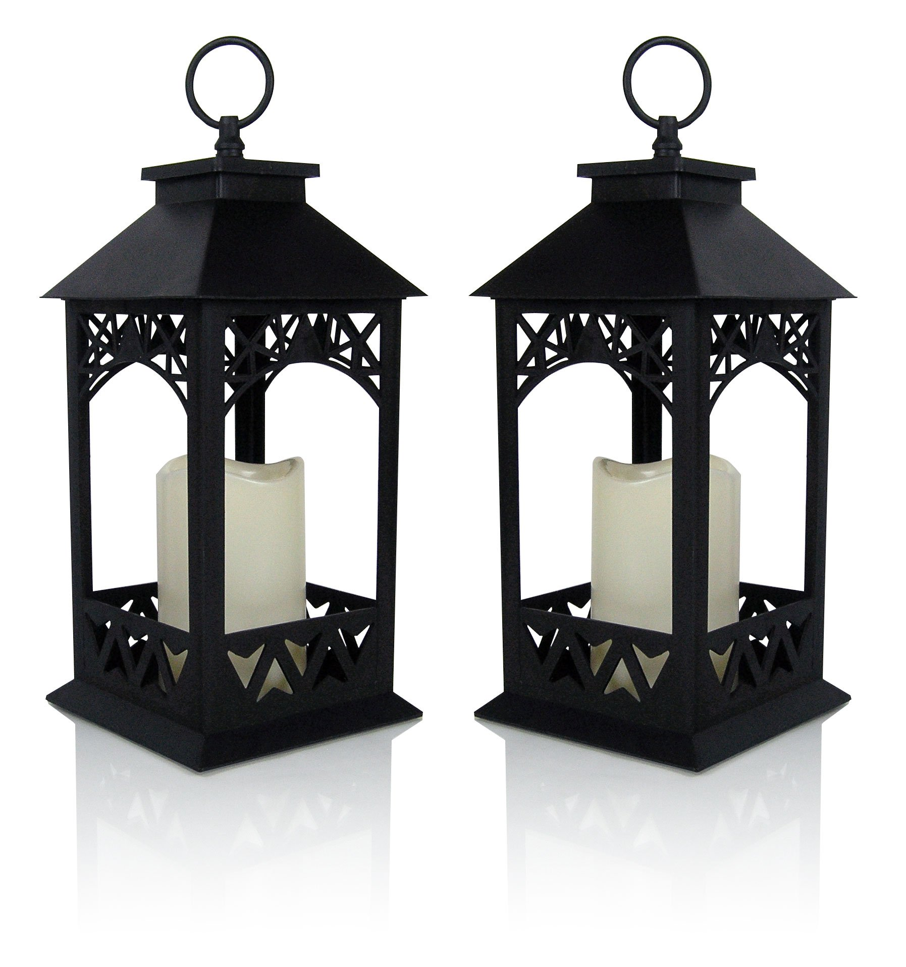 Decorative Lanterns   Set Of 2 Black Lantern With LED Pillar Candle And A 5  Hour