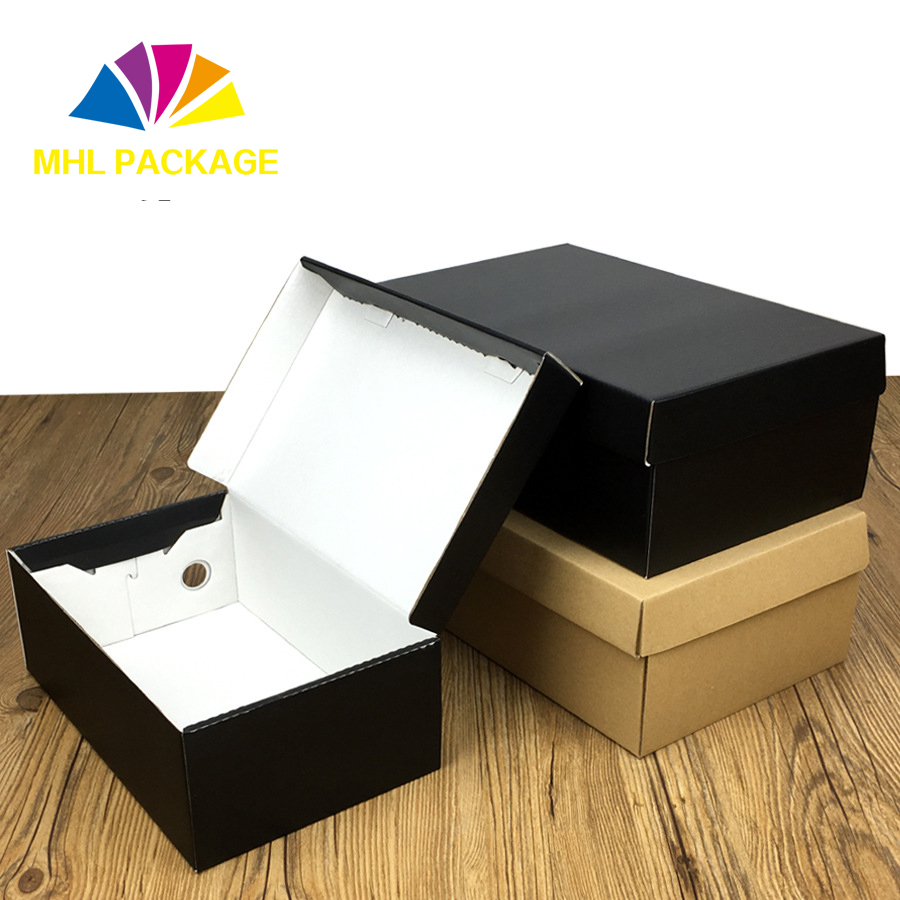 logo print hard paper corrugate paper shoes packaging boxes