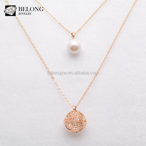 BLN0008 hot sale fashion jewelry multilayer gold chain pearl Pendant necklace