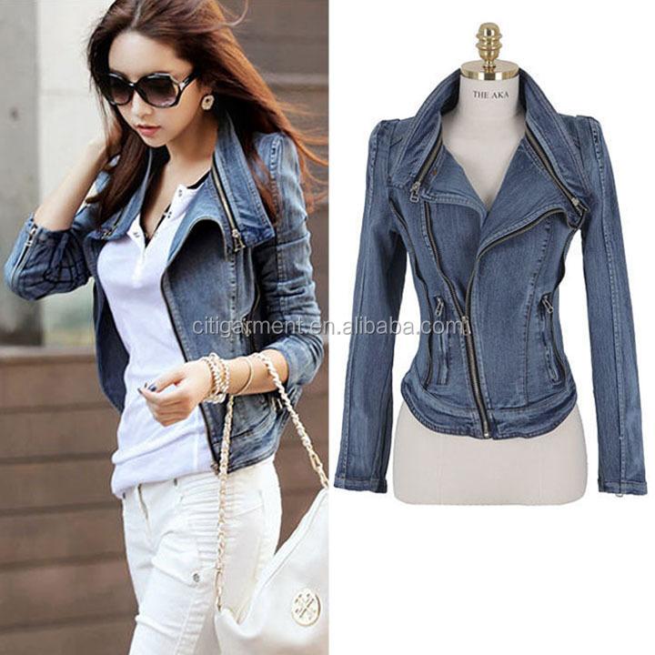 9b0c9ead939d Fashion Oblique Zipper Women Jacket Slim Denim Jean Ladies Jacket S ...