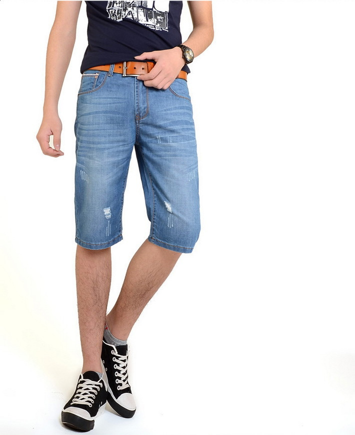 3f104987c7 Get Quotations · Men Ripped Washed Denim Shorts 2015 Male Summer Style  Basketball Beach Casual Pockets Sport Trousers Plus