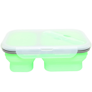 2 Compartment foldable Silicone Lunch Box Collapsible Silicone Food Storage Container with Lock Lid