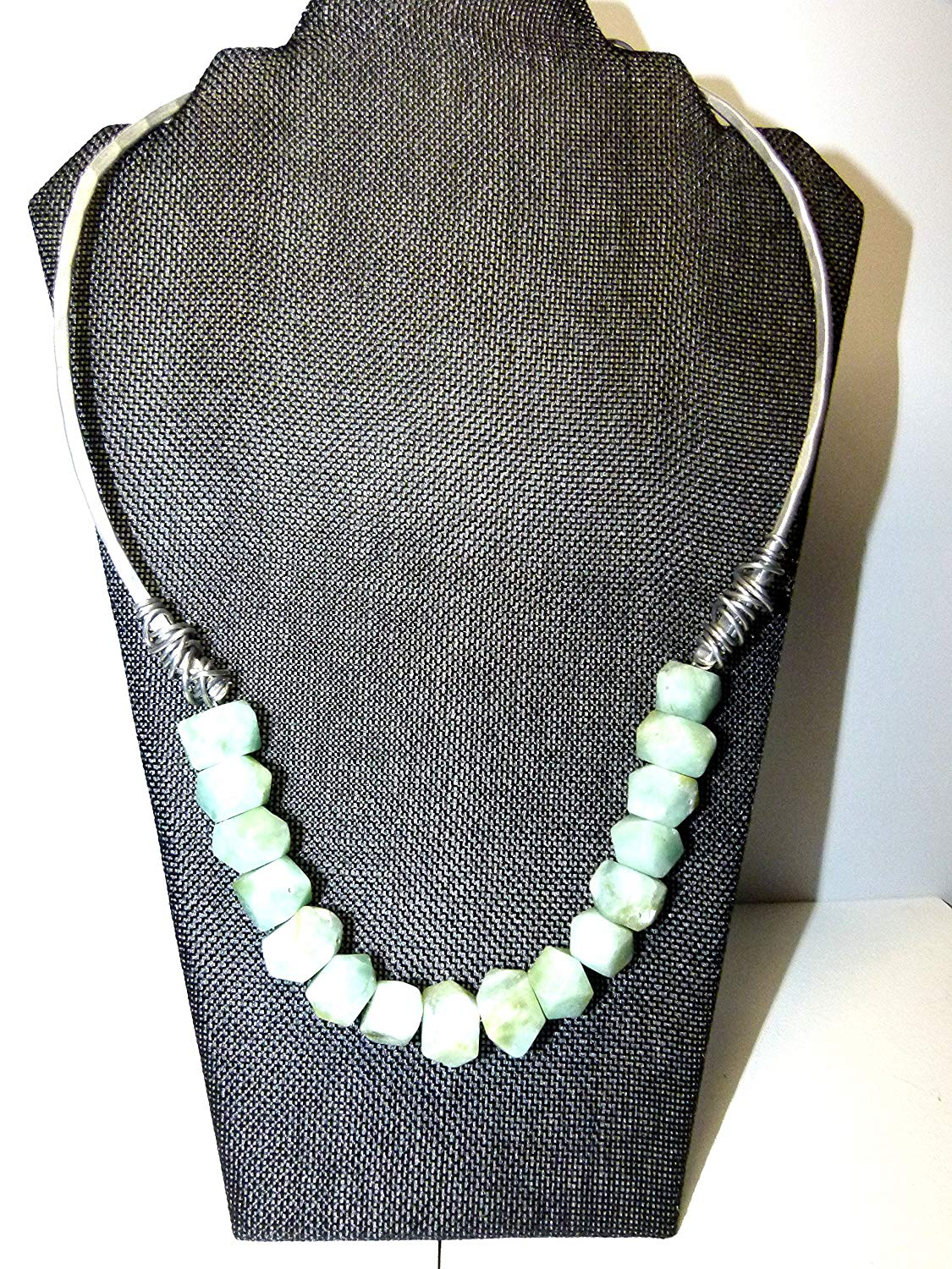 13fa77d63 Get Quotations · free form faceted gemstoens in mint green , handcrafted  chunky hypoallergenic wire