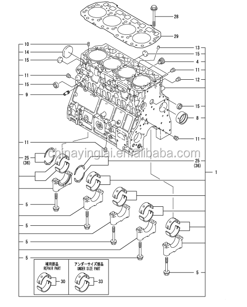723907 01560 Block Assy Cylinder For 4tnv106 Engine Parts