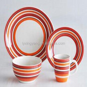 Roten Streifen Keramik Steinzeug Geschirrkeramik Steinzeug Geschirr