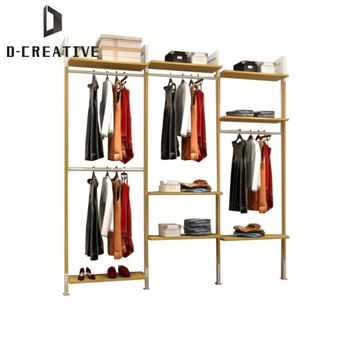 Clothing S Wood Retail Floor Clothes Wall Mounted Display Stands Hanging Rack