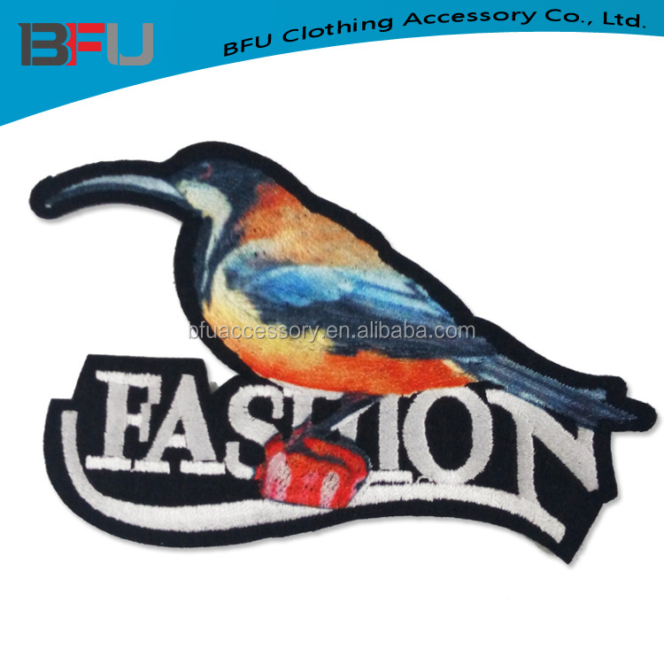 latest embroidery patch bird for clothing new bird design