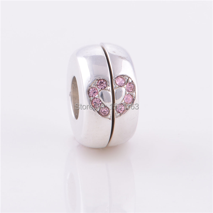 113b758fe Get Quotations · Free Shipping Guaranteed 100% 925 Sterling Silver Pink  Clear CZ Paved Love Heart 925 Silver