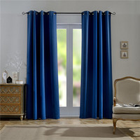 Waterproof solid thermal insulated polyester ready made blackout window curtains grommet top