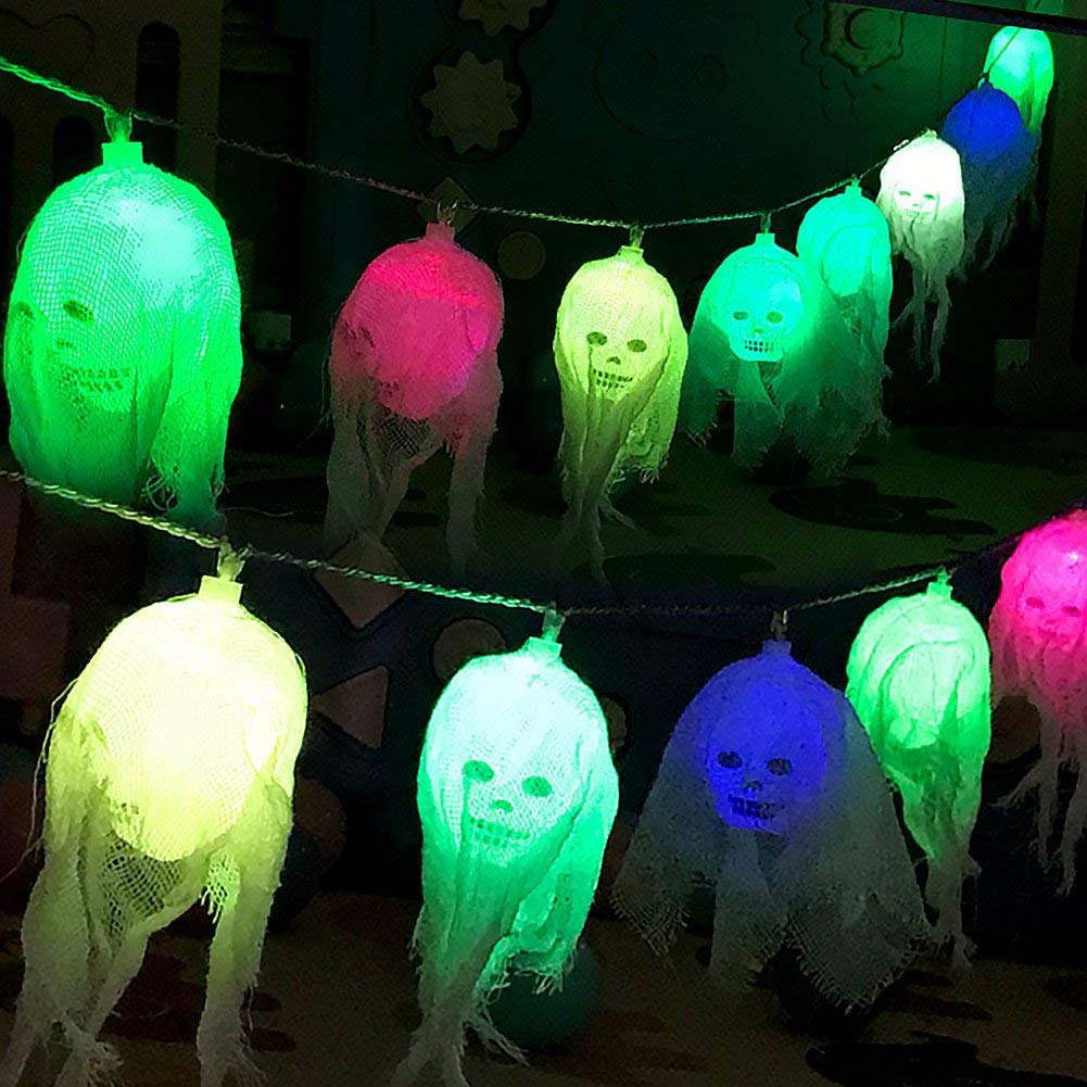 2.5 m Halloween Ghost Colorful String Lights - 10 PCS LED, 6W, IP44​ Waterproof, Energy-Saving, Skull Lamp for Party, Bar, Haunted House Decoration