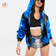 high shine blue zipper front contrast color long sleeve women's jackets coats hoodies collar metallic shine motorcycle jacket