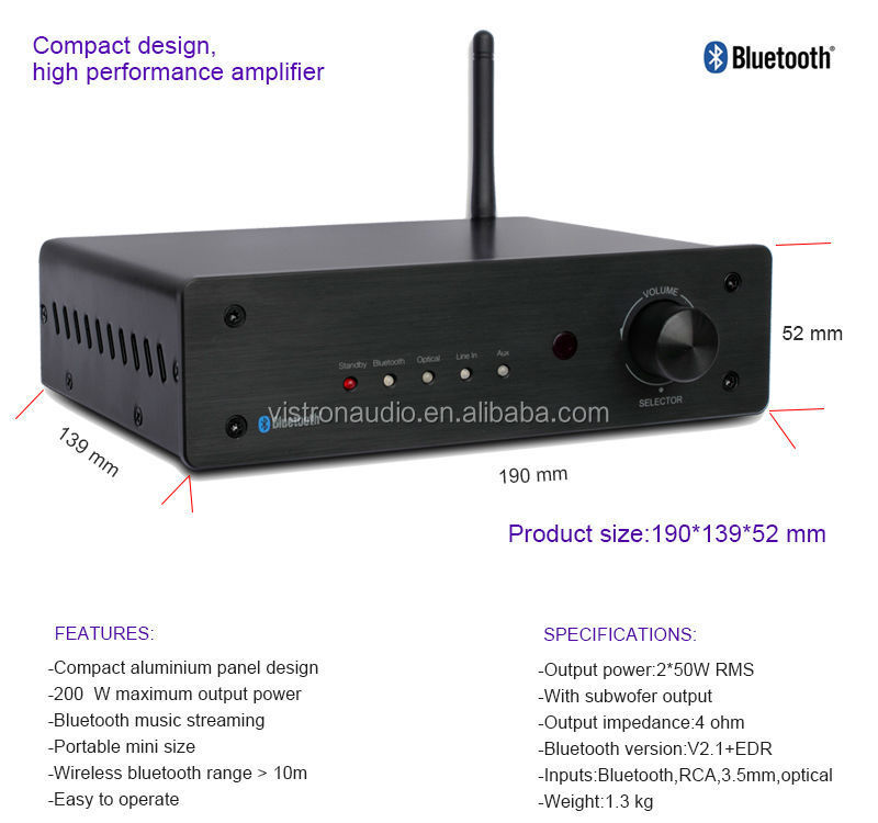 OEM Manufacturer 2.1 db audio amplifier with Bluetooth and Optical