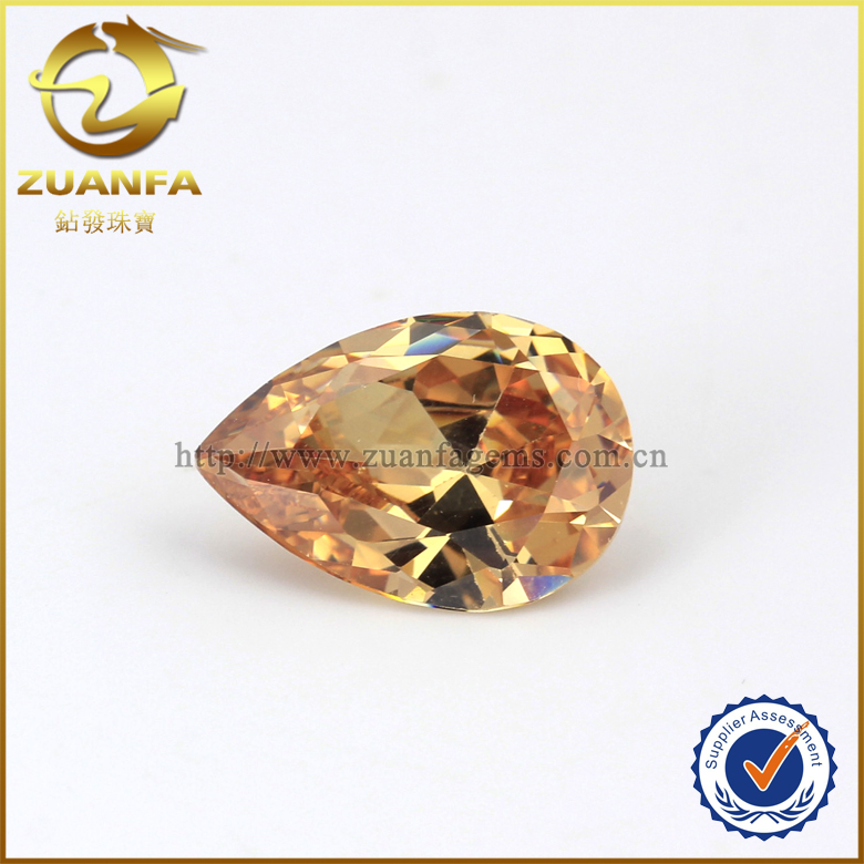 zuanfa stock 10*14mm champagne pear cut cubic zirconia CZ stones for hair accessory