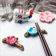 Household Kitchen Table Japanese Ceramic Chopsticks Holder Dinner Chopsticks Stand Spoon Care