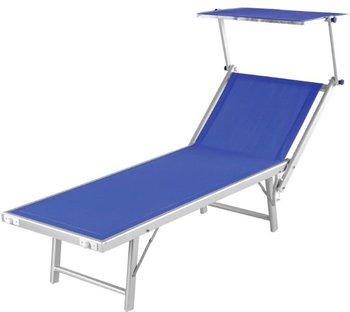 Teslin Mesh Aluminium Folding Beach Sun Bed Chaise Lounger With