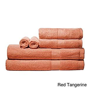 Luxurious Rayon From Bamboo Super-absorbent Solid 6-piece Towel Set (Red Tangerine)