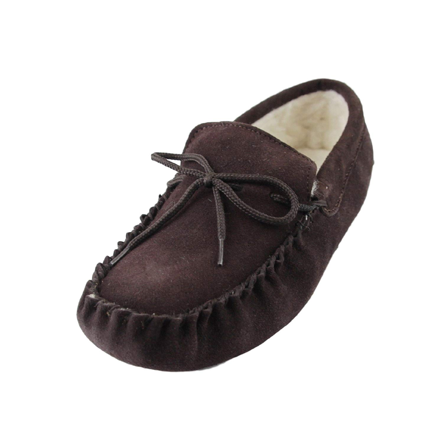 20db3bb77dbe Get Quotations · Deluxe Ladies Sheepskin Wool Moccasin Slippers with Soft  Sole - Suede Upper
