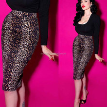 Women Leopard Print Pencil Skirt High Waisted Tight Bodycon Fancy Ladies Pictures Fashionable Skirts