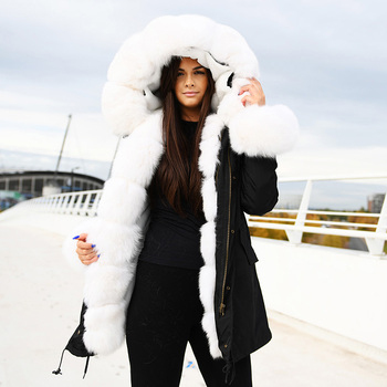 CX-G-P-02D Ladies Women Winter Latest High Quality Real Fox Collar Rex Rabbit Fur Lined Parka Coat for Sale