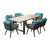 Outdoor dining furniture rope chair and teak wood table set