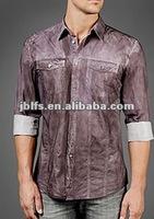 mens long sleeve slim fit pigment spray shirt