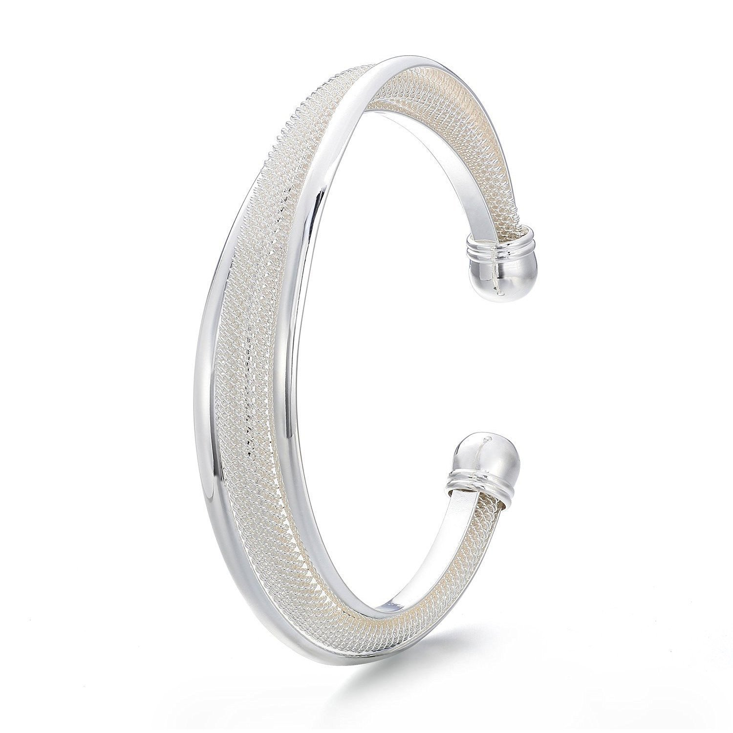 TOOGOO(R) Silver-plated Beveling Nets Bracelet Simple list Series For Young Ladies