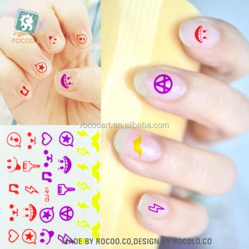 Qj61fluorescent Nail Art Designs Facemustacheheart Nail Stickers