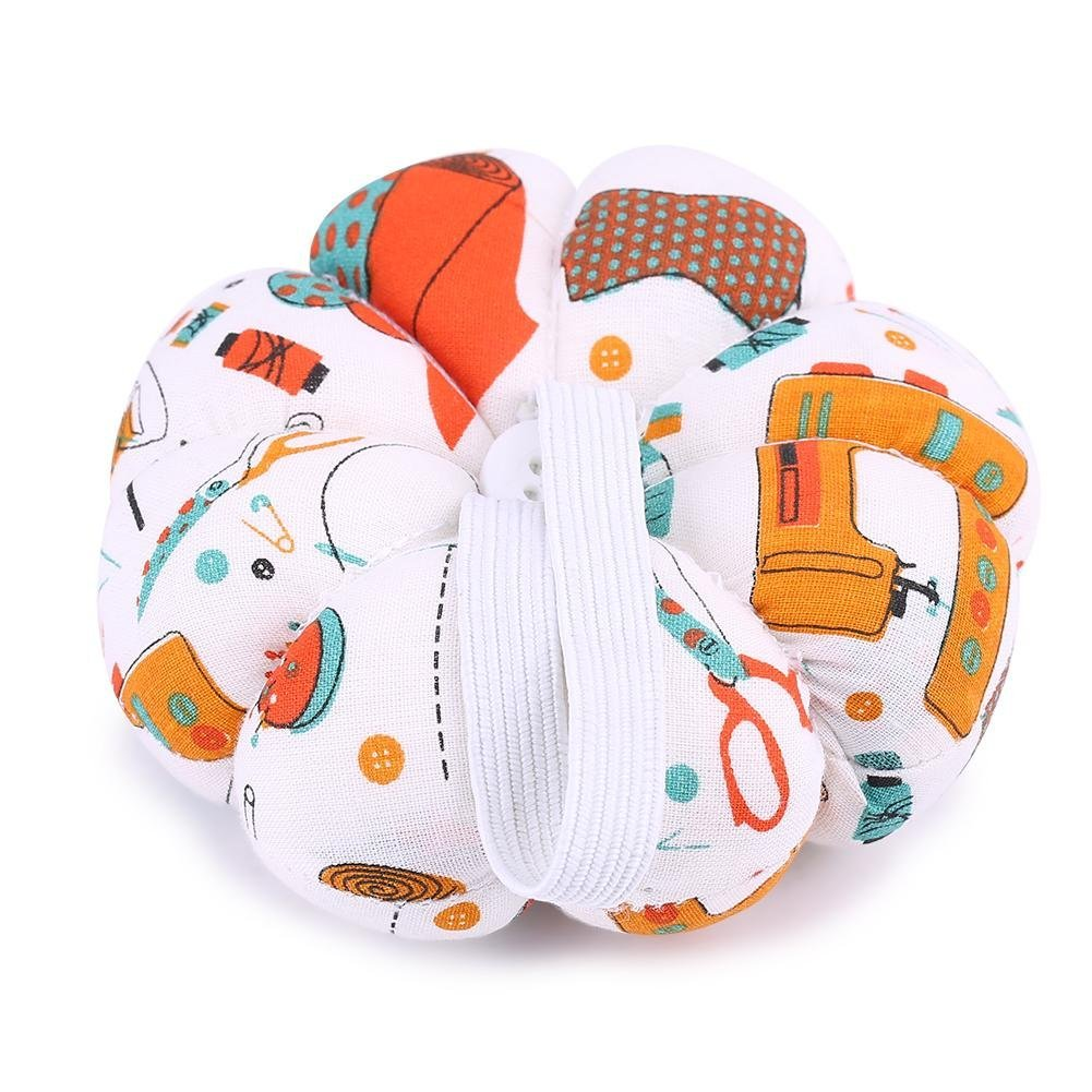 MagiDeal Pumpkin Fabric Sewing Needles Pin Cushion with Wrist Belt for Sewing Embroidery