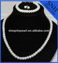 freshwater pearl kundan jewellery set with button white color 7-8mm AA pearl
