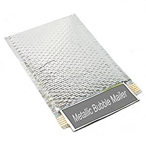 "Metallic Glamour Bubble Mailers Padded Shipping Mailing Envelopes Bags Silver - 13"" X 17.5"" 100/Case"
