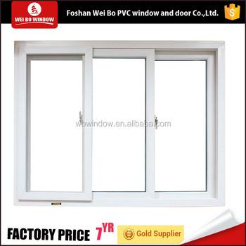 Pvc Upvc White Color Good Quality 3 Triple Panel Sliding Windows