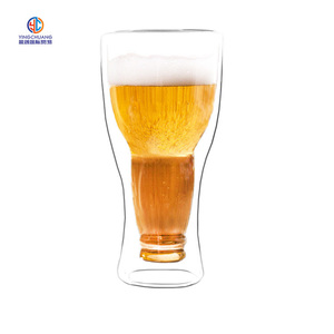 350ml hot selling double wall beer glass cup beer glass