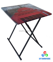 Cheap children folding table kids study table with wood top and metal frame