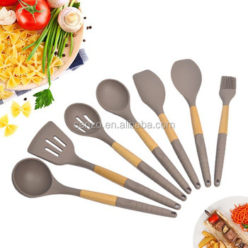 High Quality New Silicone Kitchen Utensil Sets With Acacia Wood Handle Of Nylon Cooking Tools