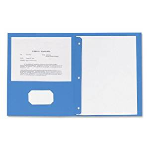 Business Source Two Pocket Folder - Letter - 8.5amp;quot; x 11amp;quot; - 3 Fastener - 100 Sheet - 0.5amp;quot; Capacity - 25 / Box - Light Blue
