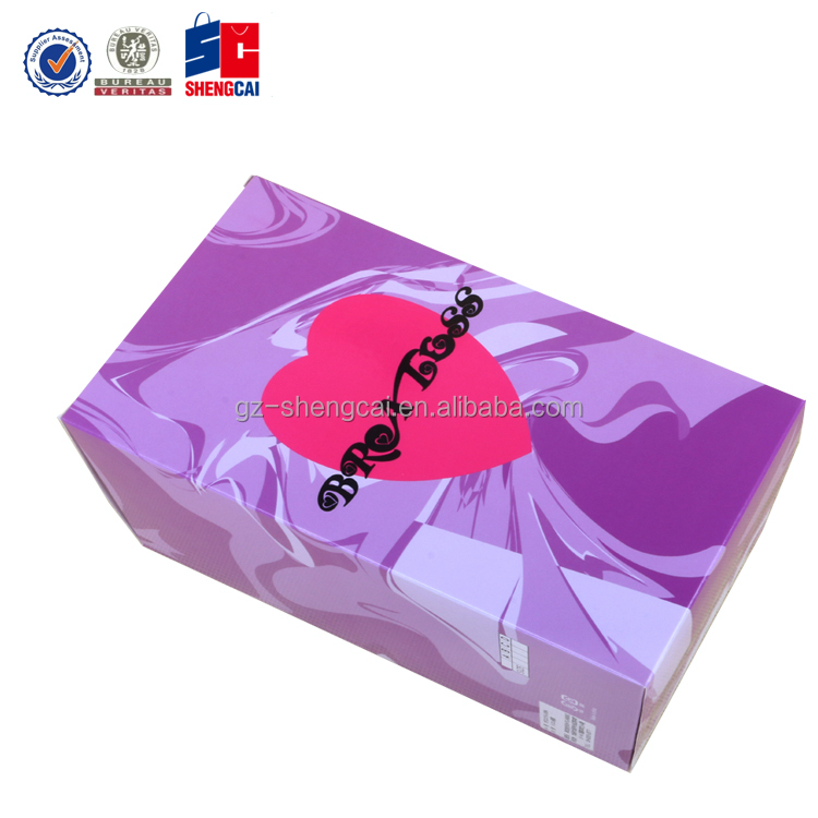 Factory price heart shape PVC window packing Bra paper box