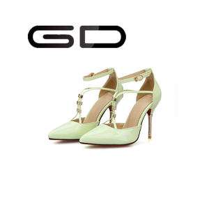 Four colors rhinestone decorate lady sandal green sexy high heel lady sandals