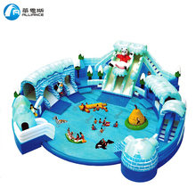 Water paradise lagerest opblaasbare ijs <span class=keywords><strong>sneeuw</strong></span> wereld <span class=keywords><strong>glijbaan</strong></span> met zwembad