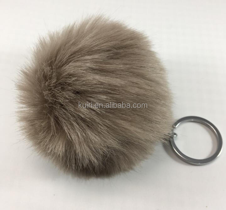 FHH-B-24 Top quality fur pom hairy ball keychain faux fur pom pom keychain