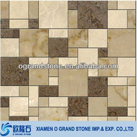 natural golden yellow stone wall marble mosaic tile