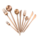 colored flatware rose gold cutlery set with logo