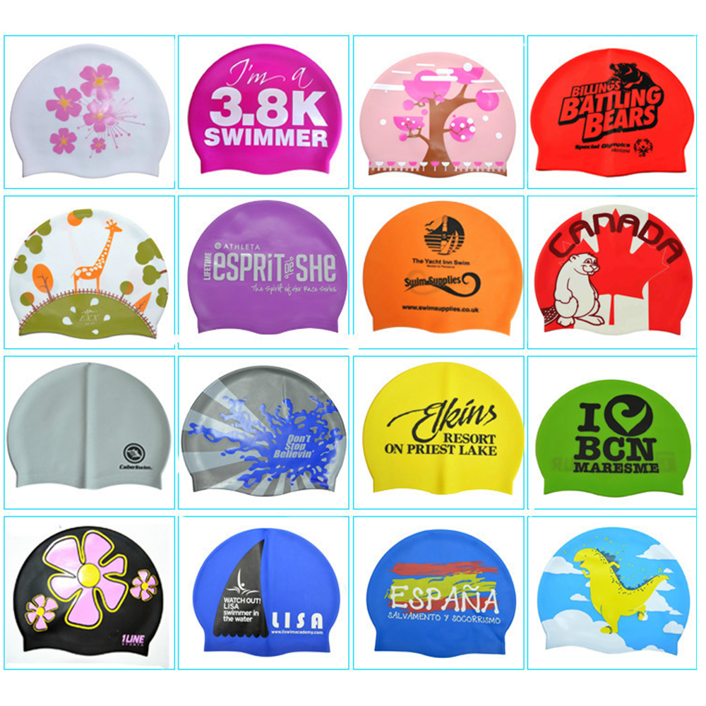 Your Own Logo Country Flag Silicone Ear Swim Cap Raw Materials