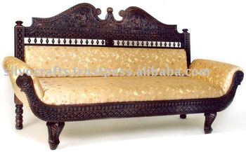 Royal Indian Rajasthani Jodhpur Hand Carved Teak Wooden Sofa Diwan Sets U0026  Chaise Lounge (Carved