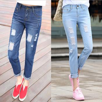 W71890g 2016 Fashion Denim Jeans Loch Jeans Weibliche Lose Damen