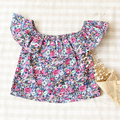 2016 New Kids Tops For Girls Beautiful Floral Print Children Clothing Flower Sleeve Baby Girl T