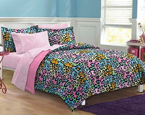7 Piece Girls Teen Rainbow Leopard Themed Comforter Full Set, All Over Cheetah Pattern Bedding, Cute Neon Multi Color Animal Print, Blue Pink Orange Green Yellow Black